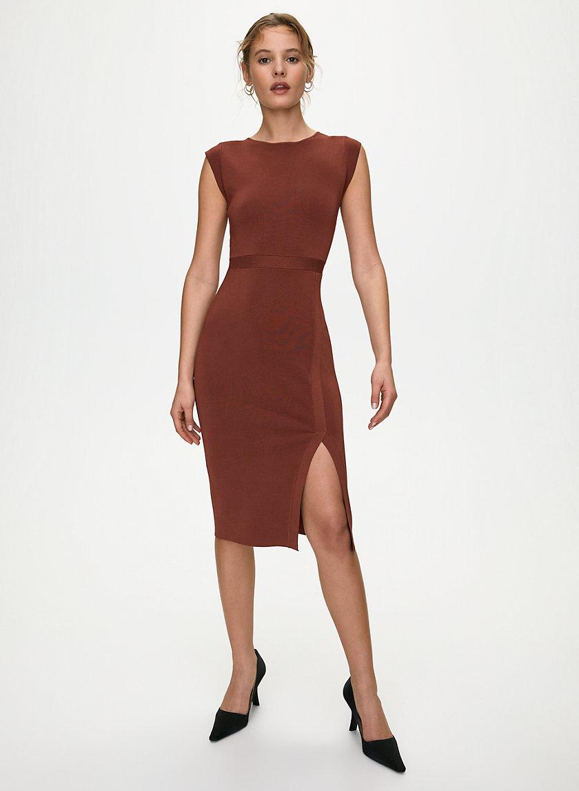 Mockneck Slit Dress