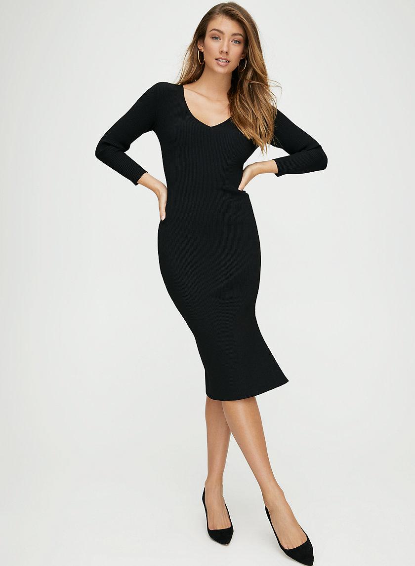 VANCE DRESS - V-neck long-sleeve midi dress.