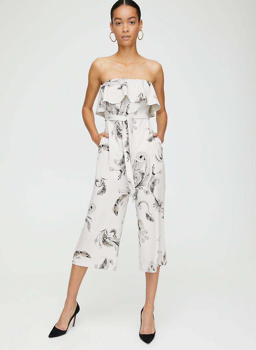 FLUTTER JUMPSUIT - Printed strapless ruffled jumpsuit