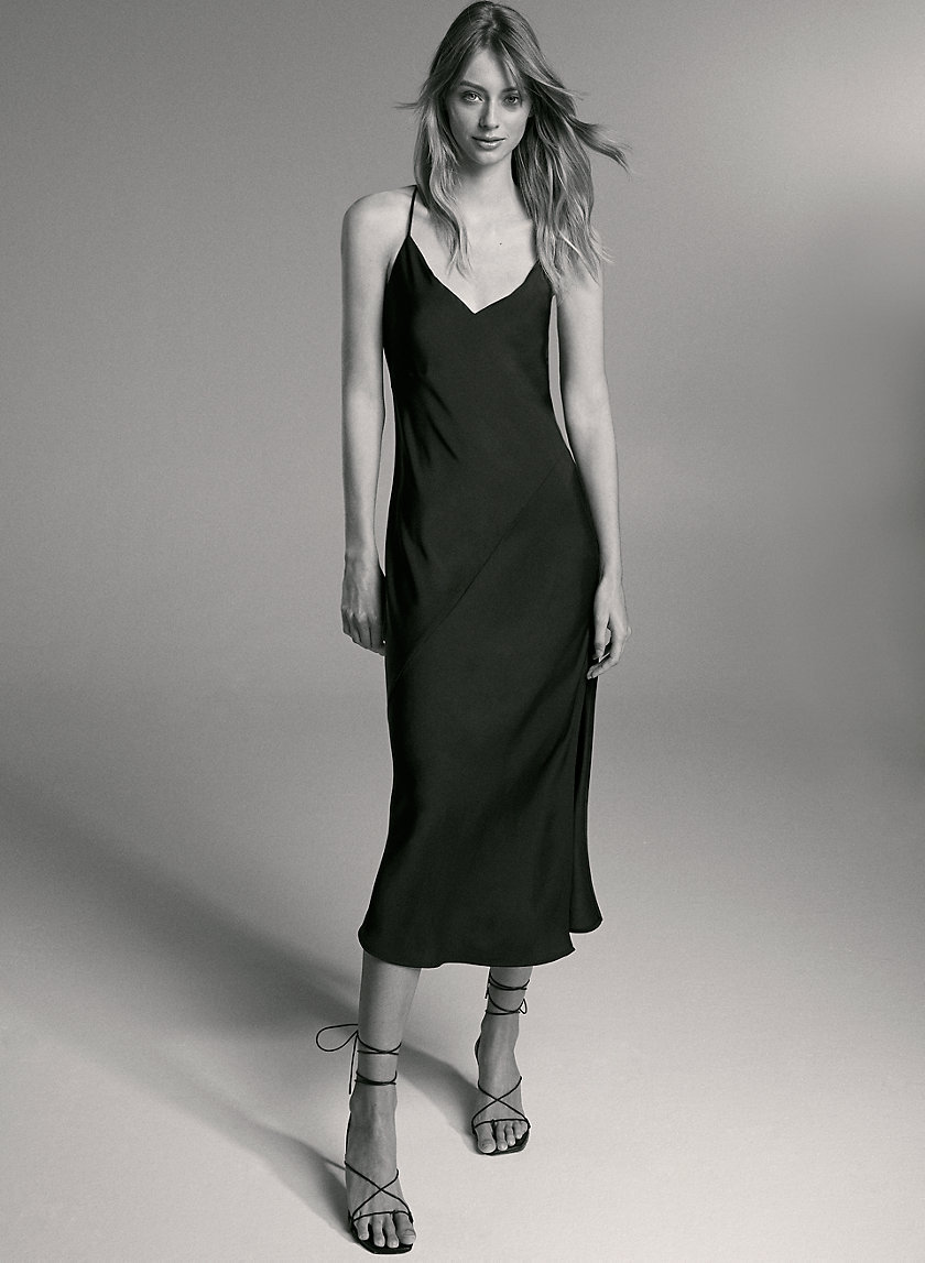 BELLAMY DRESS - Satin cowl-back slip dress