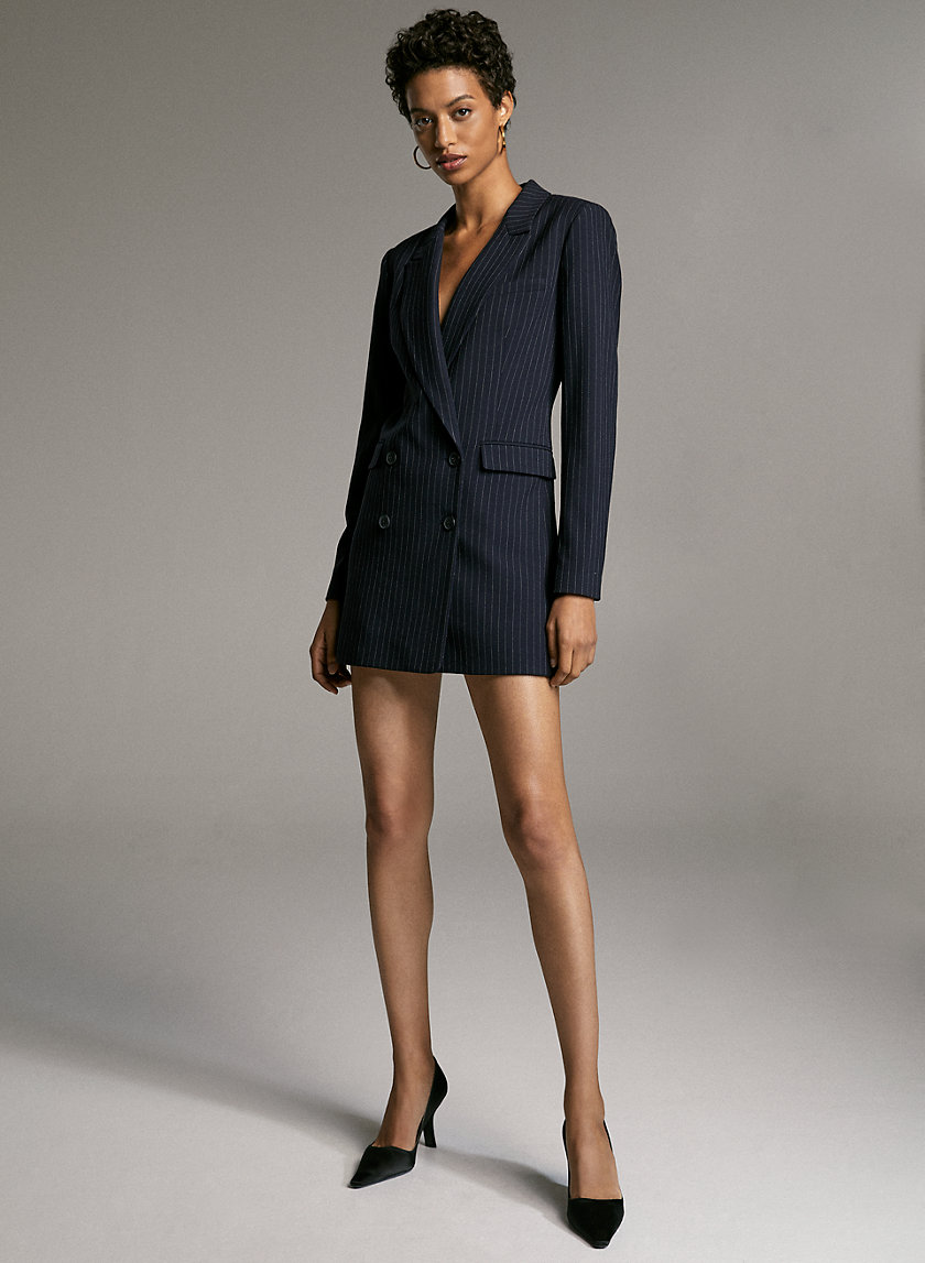 CHECK BLAZER DRESS - Yarn-dyed blazer dress