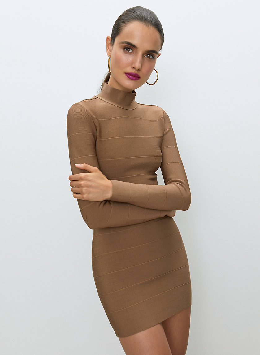 ERICKSON BANDAGE DRESS - Mock-neck, knit bodycon dress