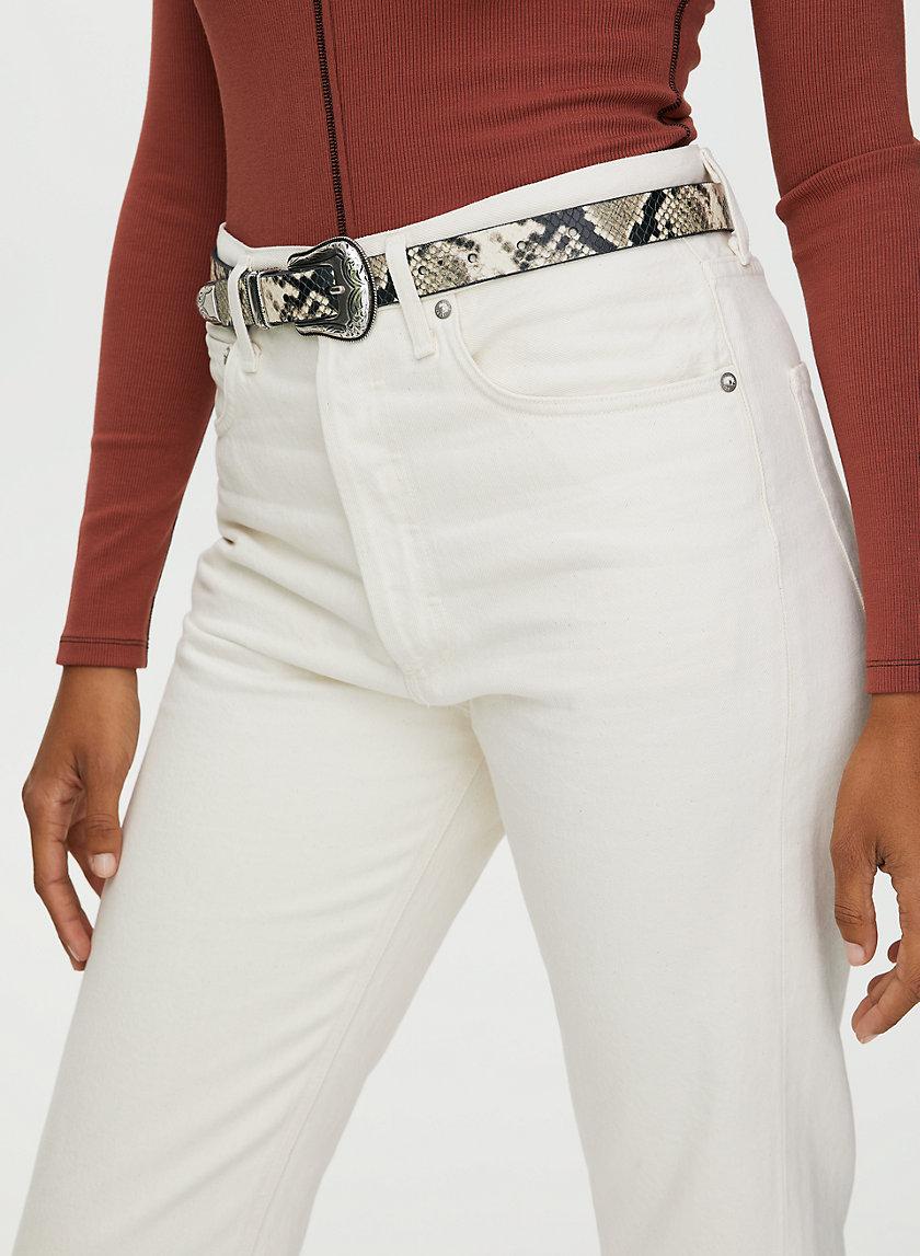 SKINNY WESTERN BELT - Snake-print leather belt