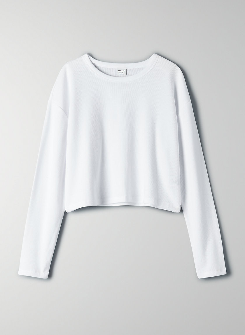 HAVISHAM T-SHIRT - Cropped, waffle-knit shirt