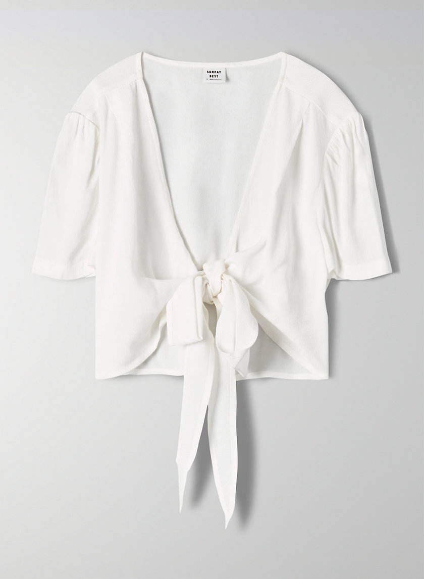 OLSON TOP - Cropped, short-sleeve wrap top