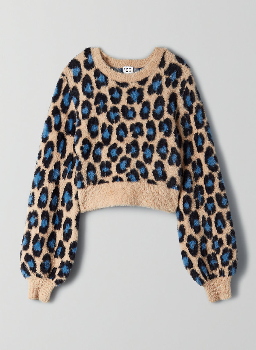 KITTEN SWEATER - Fuzzy leopard-print sweater