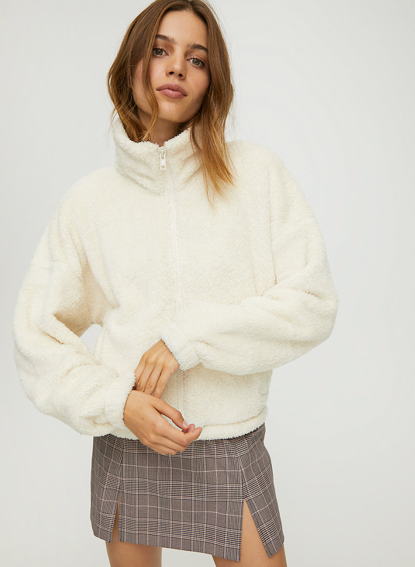 MOCKNECK FUZZY ZIP-UP - Mock-neck teddy jacket