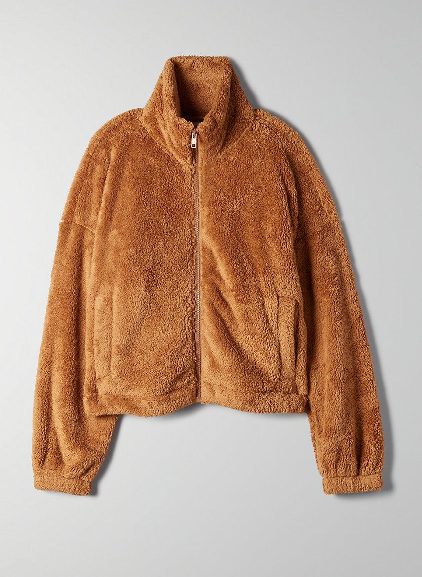 MOCKNECK FUZZY ZIP-UP - Mock-neck teddy jacket