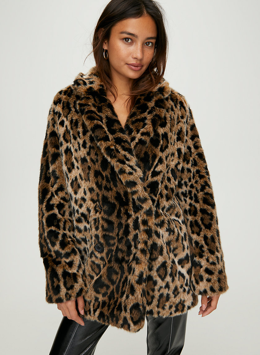 KISSY FAUX FUR COAT - Leopard print faux fur coat