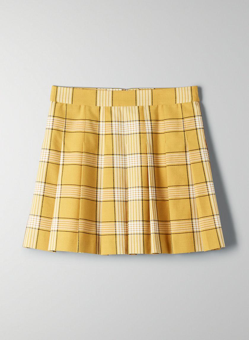 OLIVE SKIRT - Pleated, plaid mini skirt