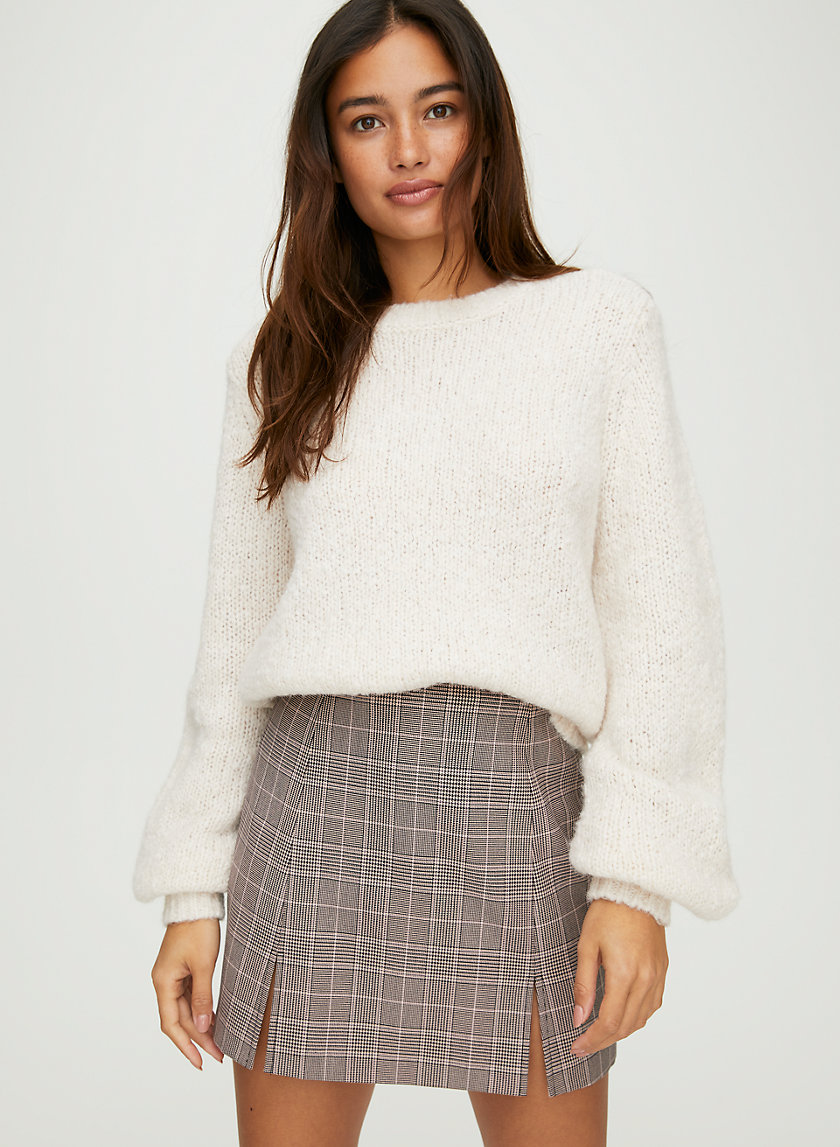 NOTCHED CHECK SKIRT - Plaid mini skirt