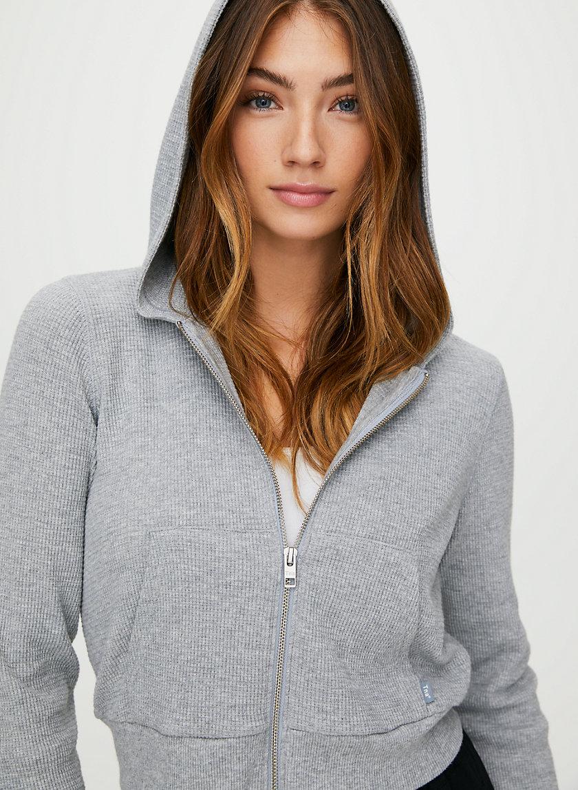 THERMAL ZIP HOODIE - Cropped waffle-knit hoodie