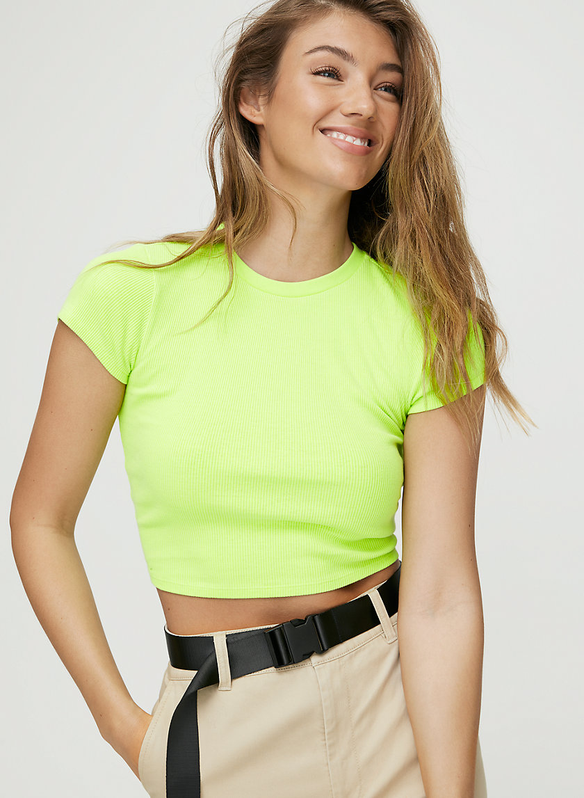 GIBBS T-SHIRT - Cropped, ribbed t-shirt