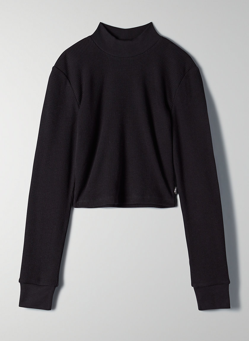THERMAL MOCKNECK - Cropped, mock-neck thermal shirt