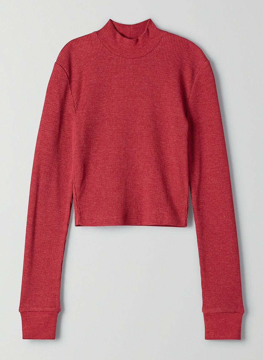 THERMAL MOCKNECK - Cropped, mock-neck thermal shirt