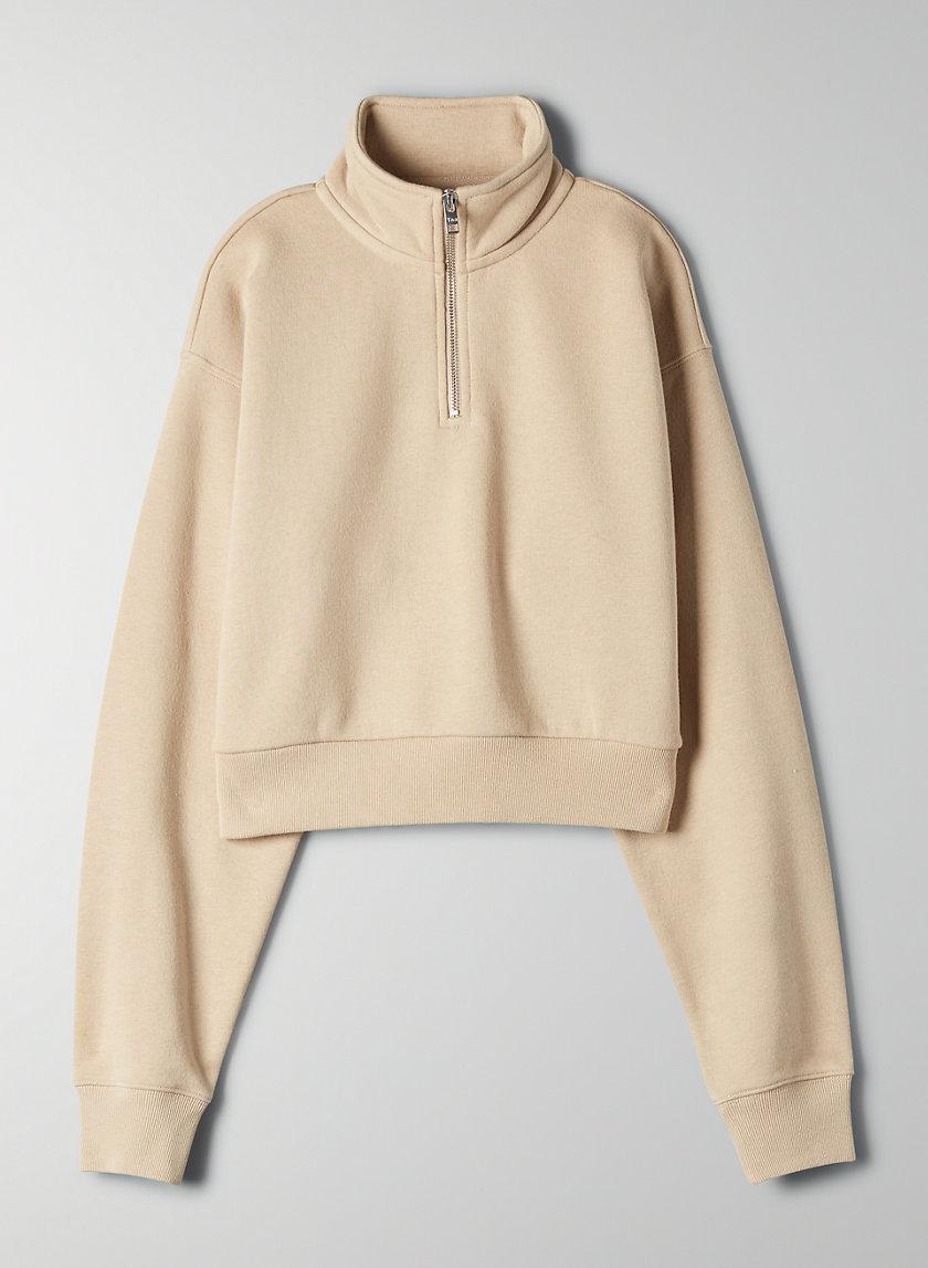 WARM-UP CROP SWEATER - Cropped, quarter-zip sweatshirt