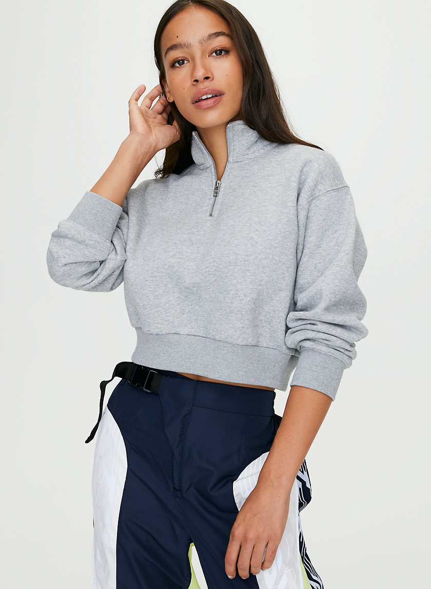 WARM-UP CROP SWEATER - Cropped, quarter-zip sweatshirt