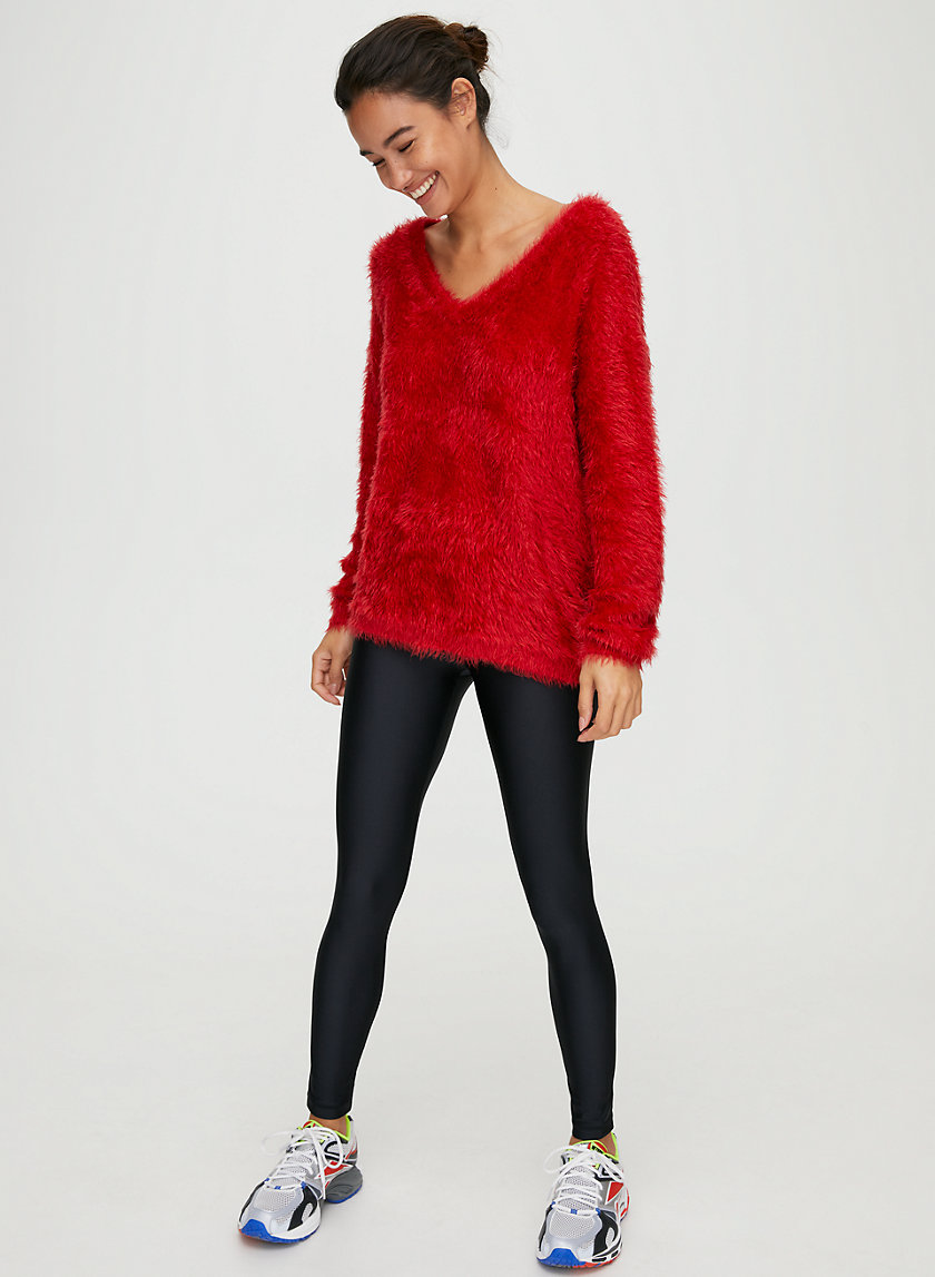 MONTAUK V-NECK SWEATER - Fuzzy V-neck sweater