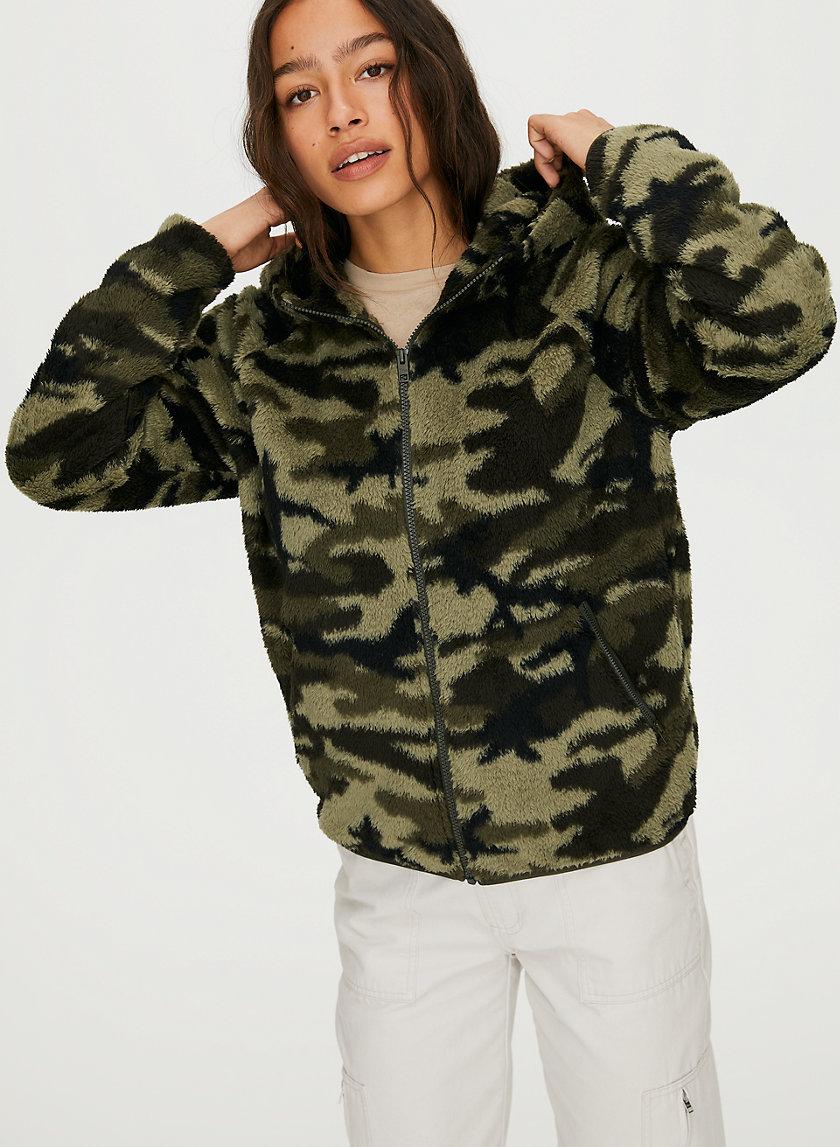 FUZZY ZIP-UP - Camouflage fuzzy zip-up hoodie