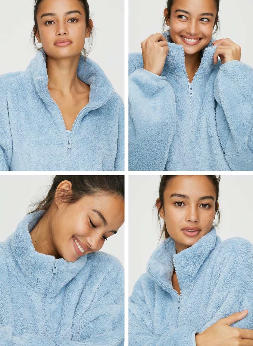 FUZZY ZIP MOCKNECK - Oversized fuzzy sweater