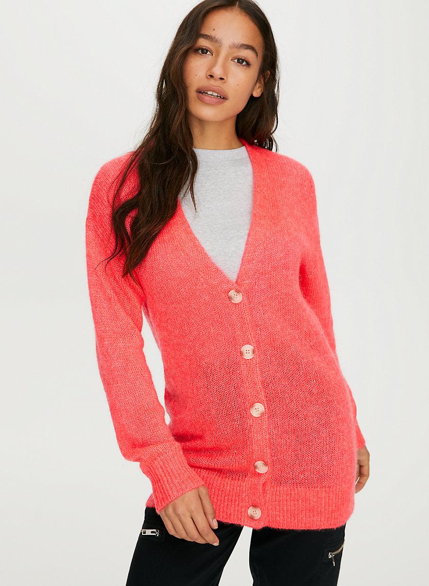 UTICA CARDIGAN - Fuzzy V-neck cardigan