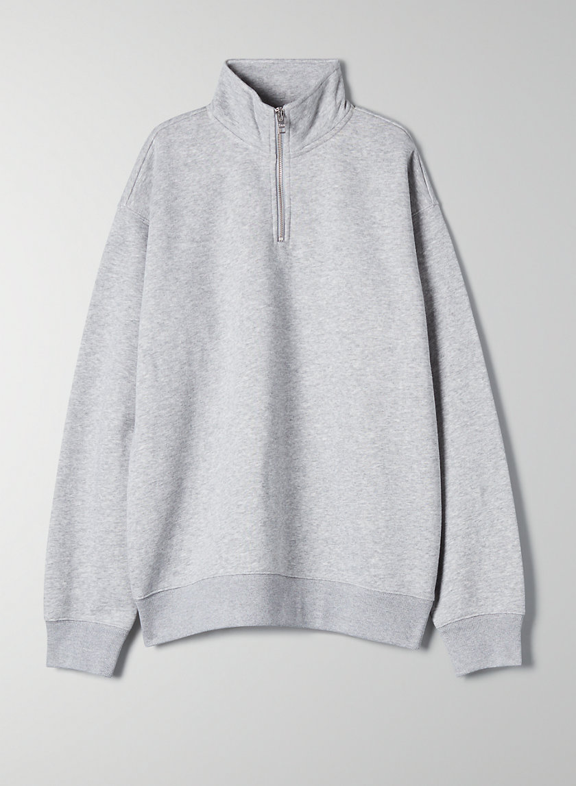 WARM-UP SWEATER - Quarter-zip mock-neck sweater