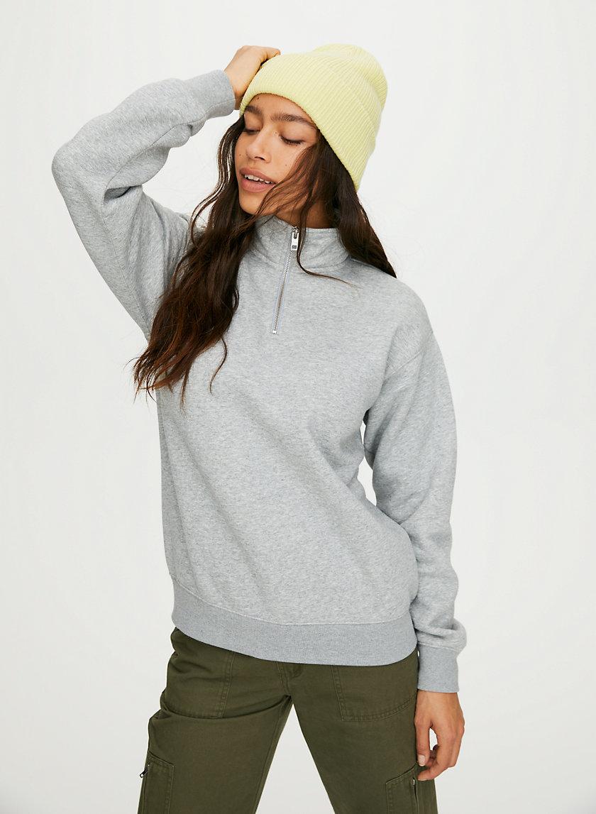 WARM-UP SWEATER - Quarter-zip mock-neck sweater
