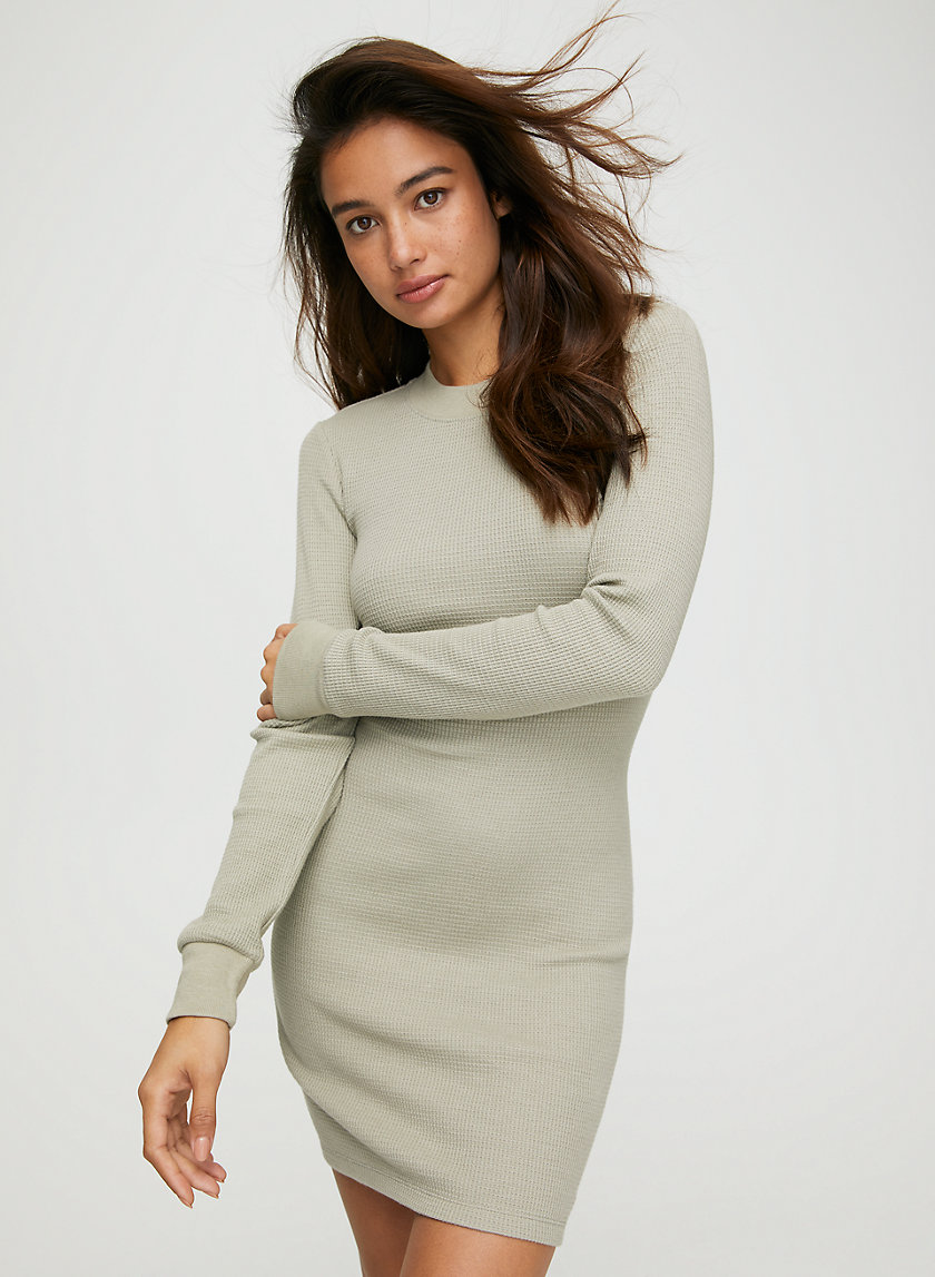 THERMAL DRESS - Waffle thermal mini dress