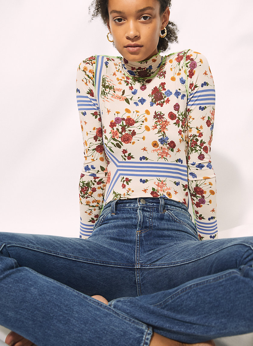 ONLY TURTLENECK - Floral mock-neck longsleeve