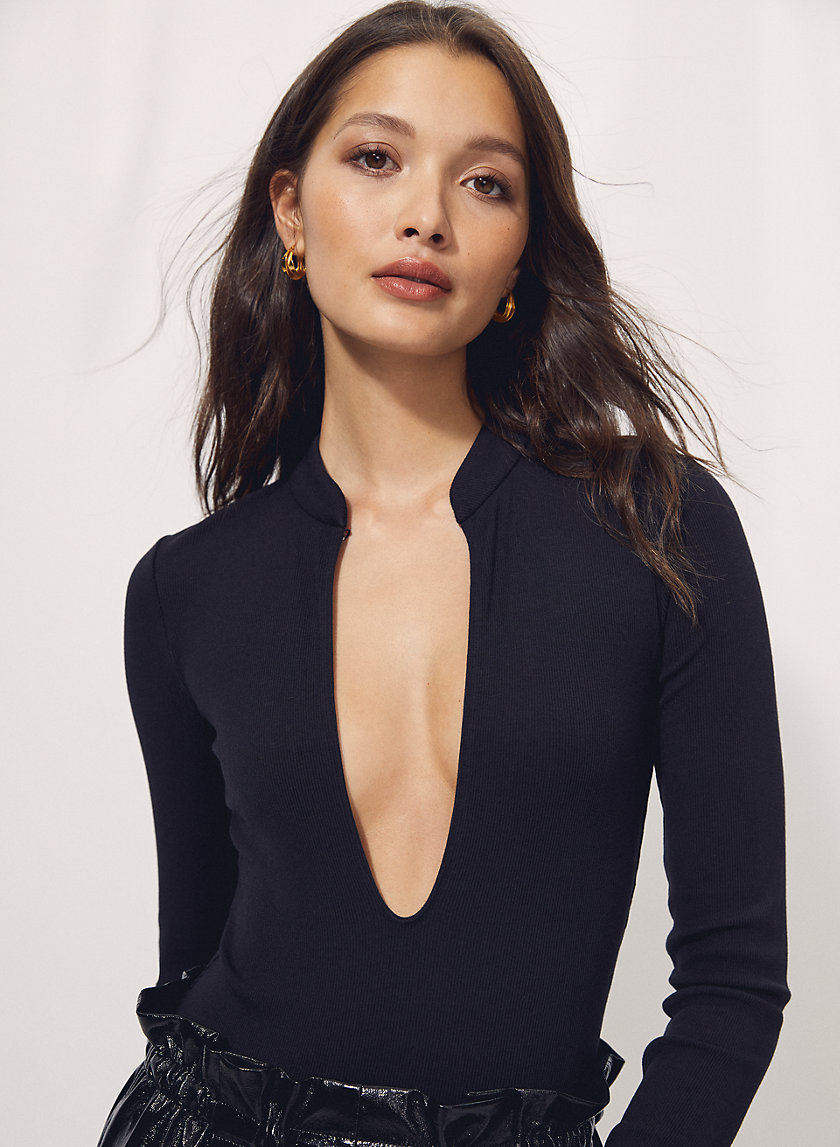 HARLEQUIN BODYSUIT - Long-sleeve keyhole bodysuit