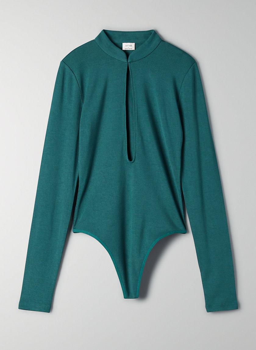 HARLEQUIN BODYSUIT - Long-sleeve keyhole bodysuit