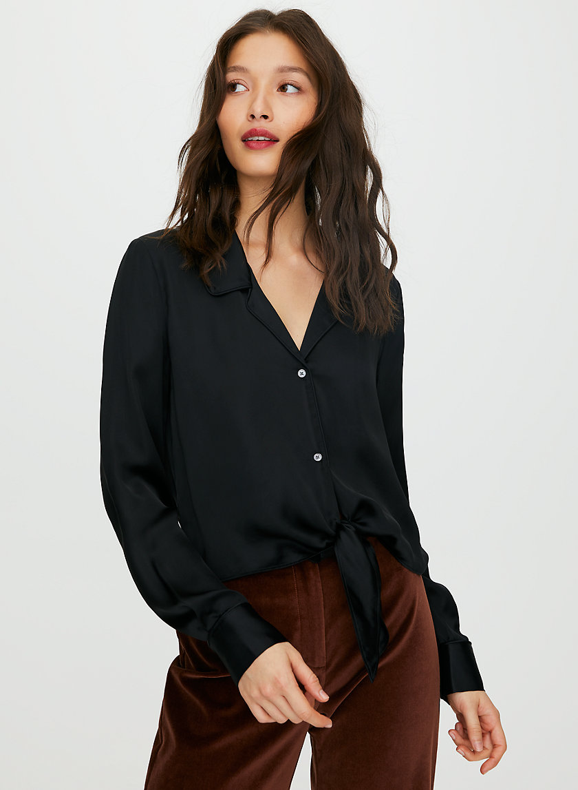 TIE-FRONT BLOUSE - Cropped, tie-front blouse