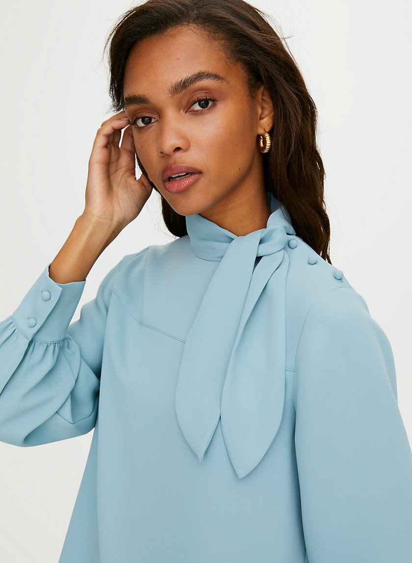 TRAPEZE BLOUSE - Long-sleeve, tie-neck blouse