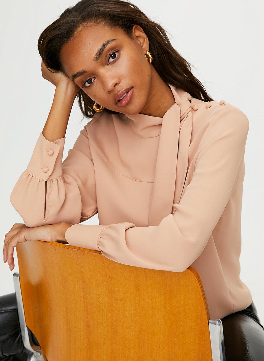 TRAPEZE BLOUSE - Long-sleeve, tie-neck blouse