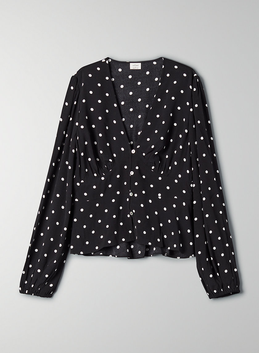 NEW PRAIRIE BLOUSE - Polka-dotted, button-front blouse