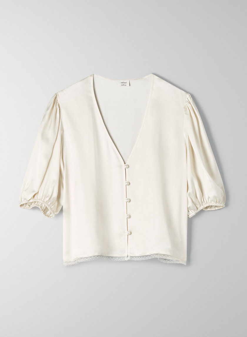 BRIA BLOUSE - Button-front plunging blouse