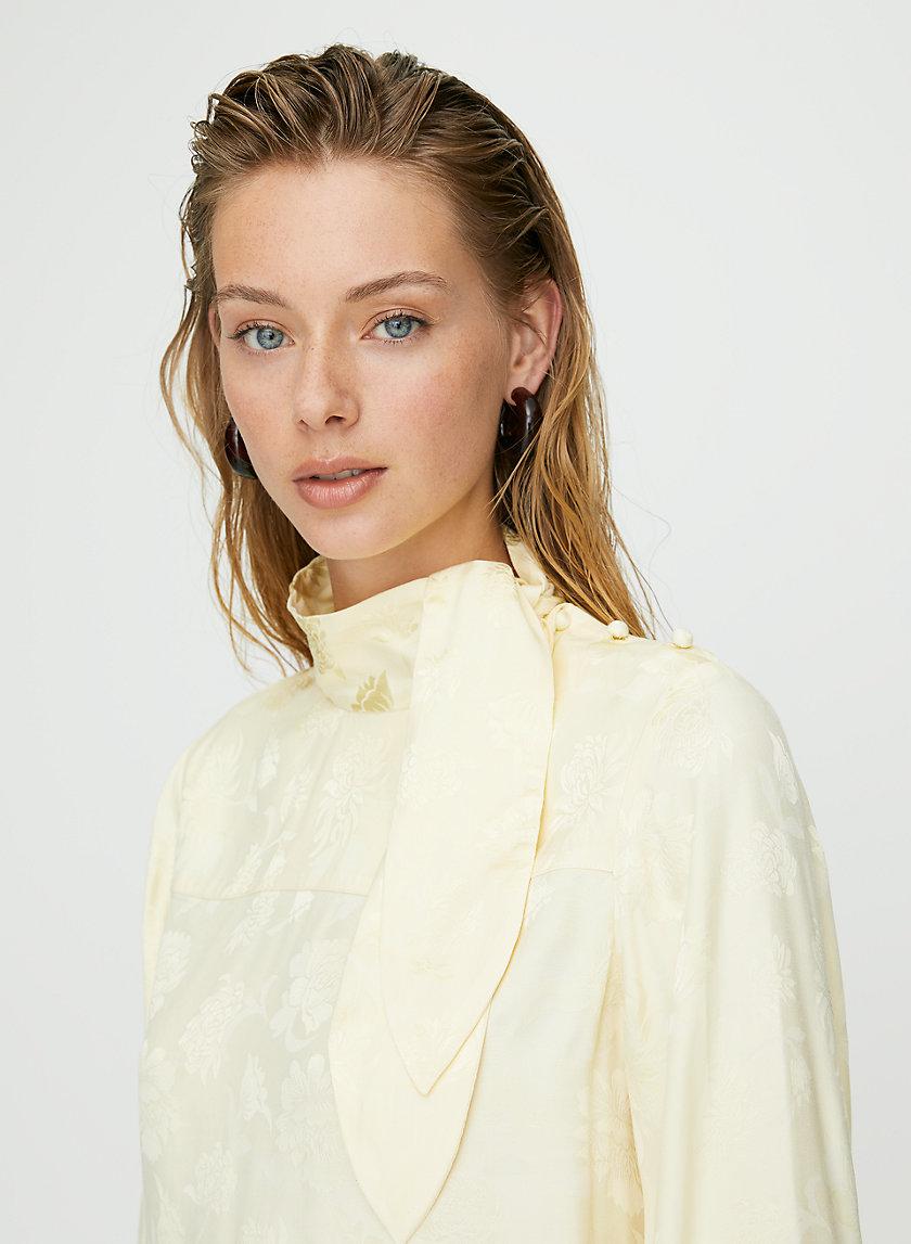 TRAPEZE BLOUSE - Long-sleeve floral tie-neck blouse