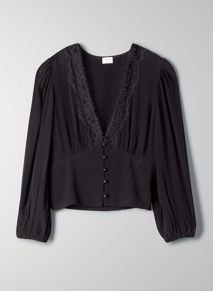 ROMANCE ME BLOUSE - Long-sleeve lace blouse