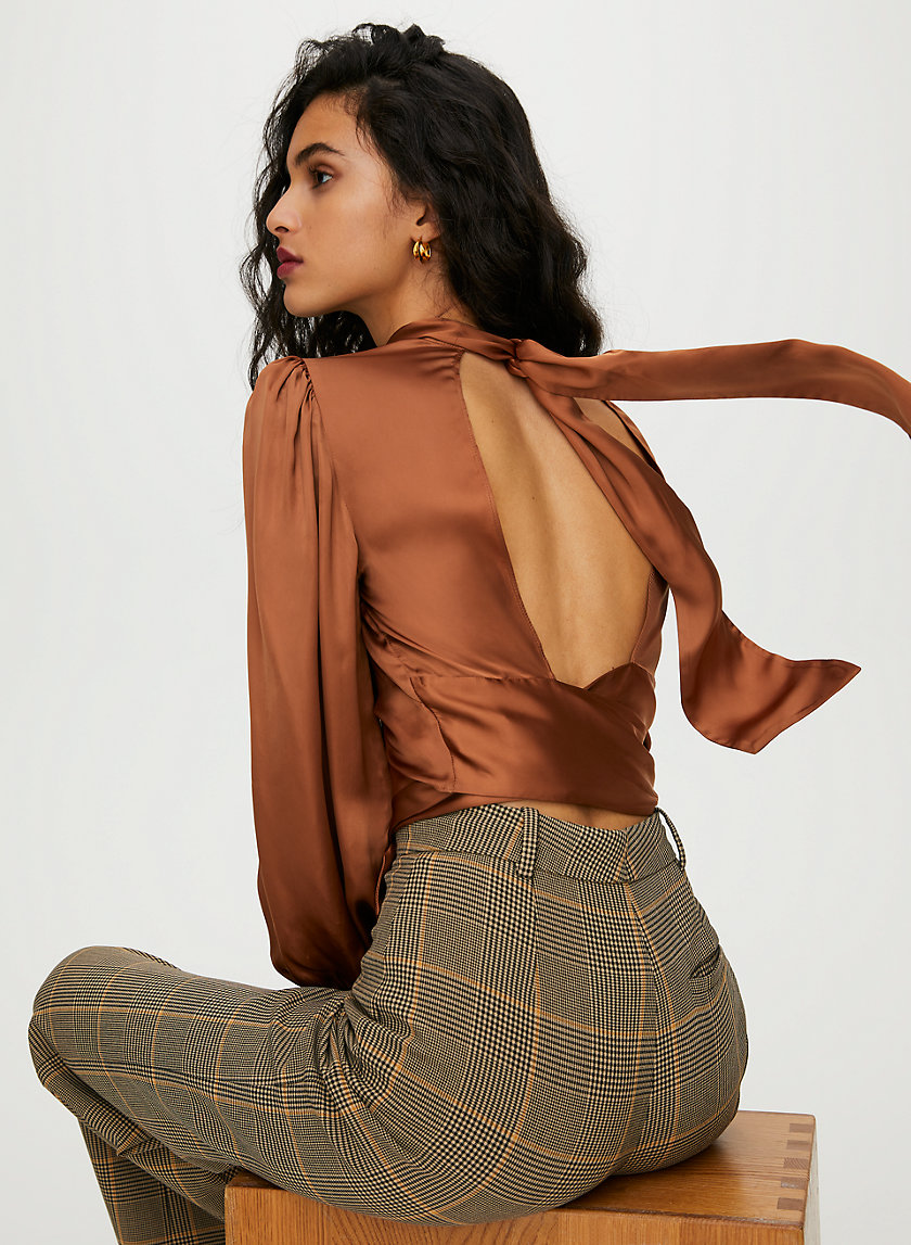 LEIGH BLOUSE - Shiny backless top