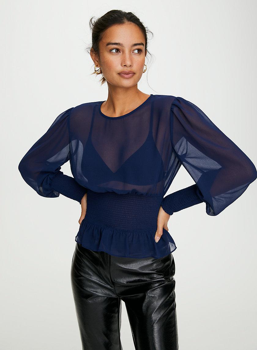 BALLAD BLOUSE - Sheer smocked blouse
