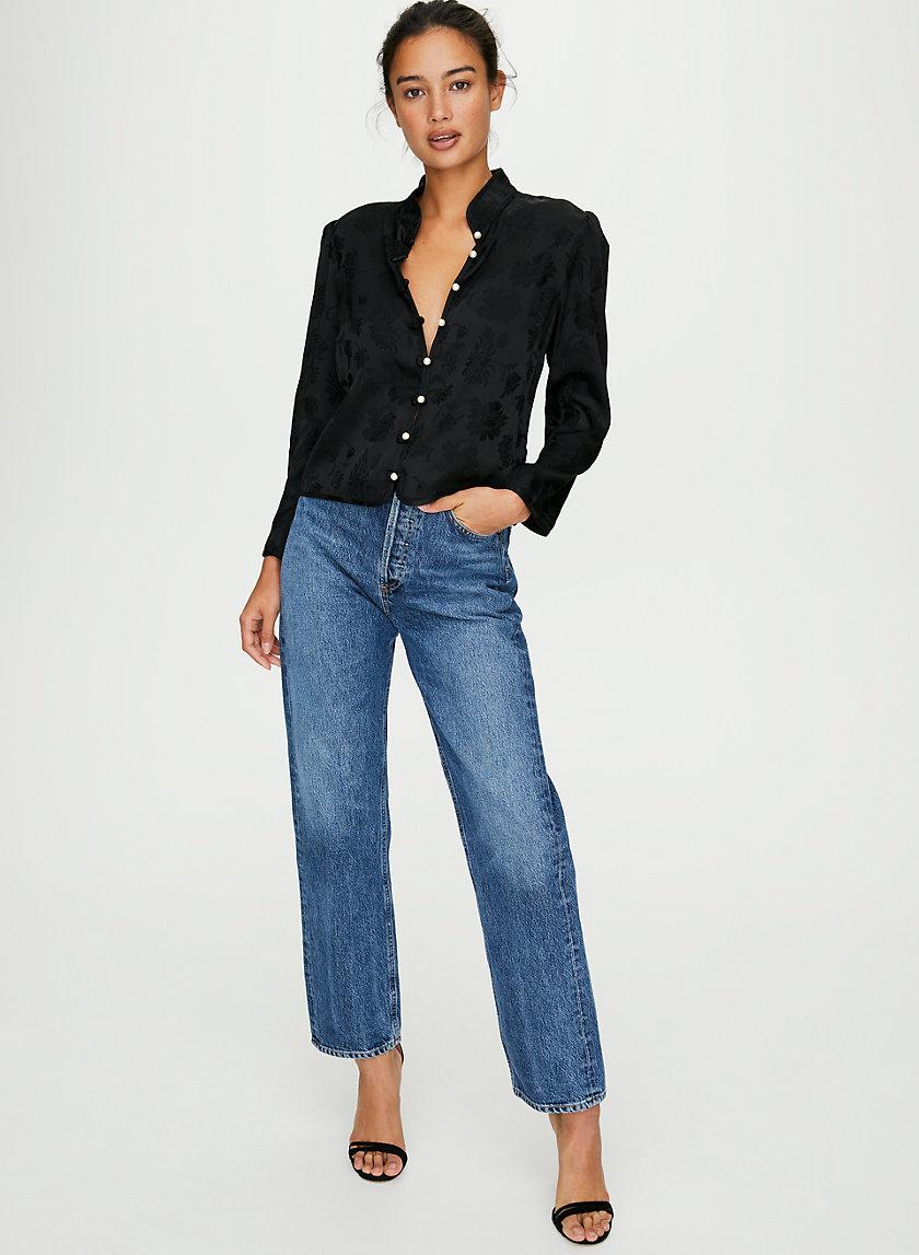 BAROQUE BLOUSE - Mandarin-collar floral blouse