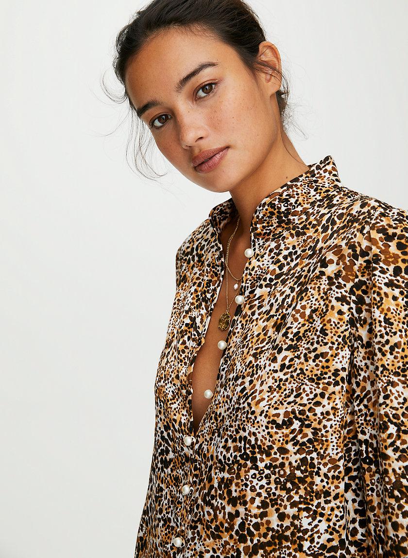BAROQUE BLOUSE - Mandarin-collar jacquard blouse