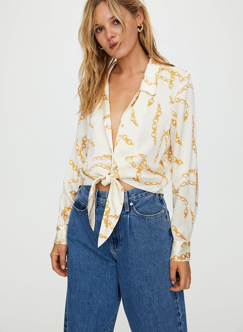 TIE-FRONT BLOUSE - Silk print blouse