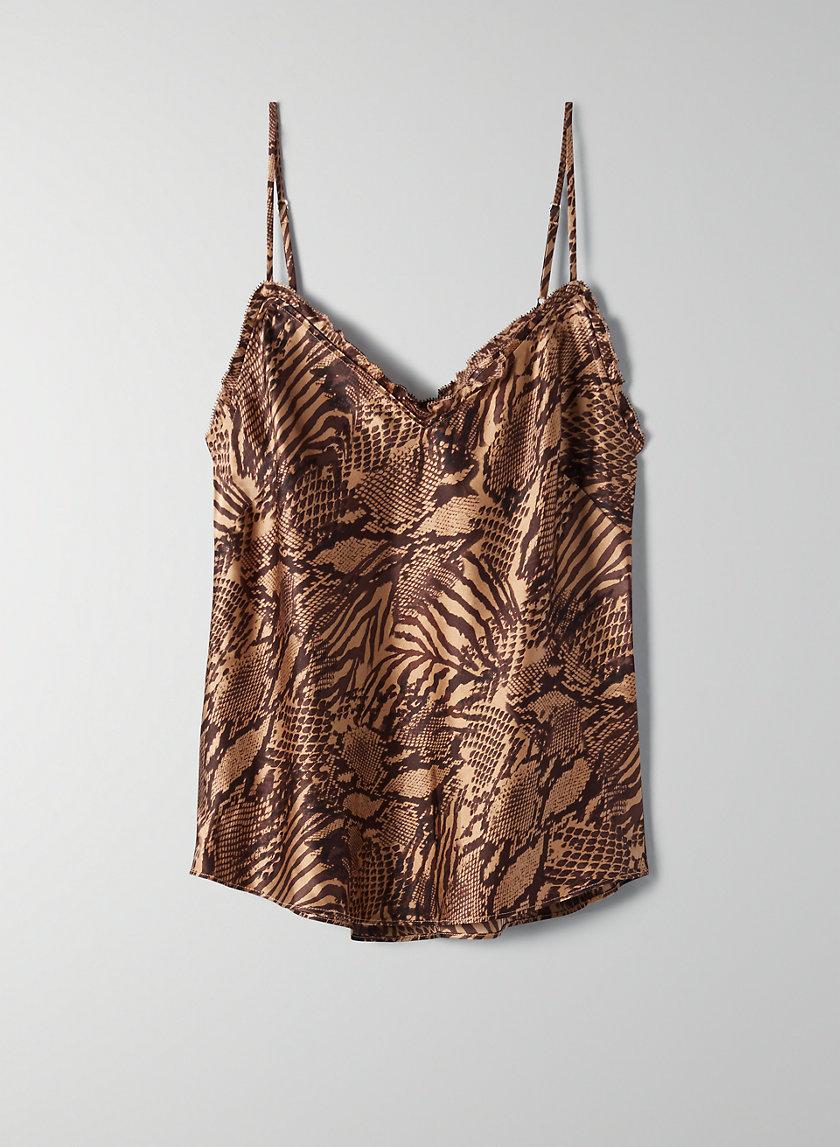 RUFFLE CAMISOLE - Animal-print silk camisole