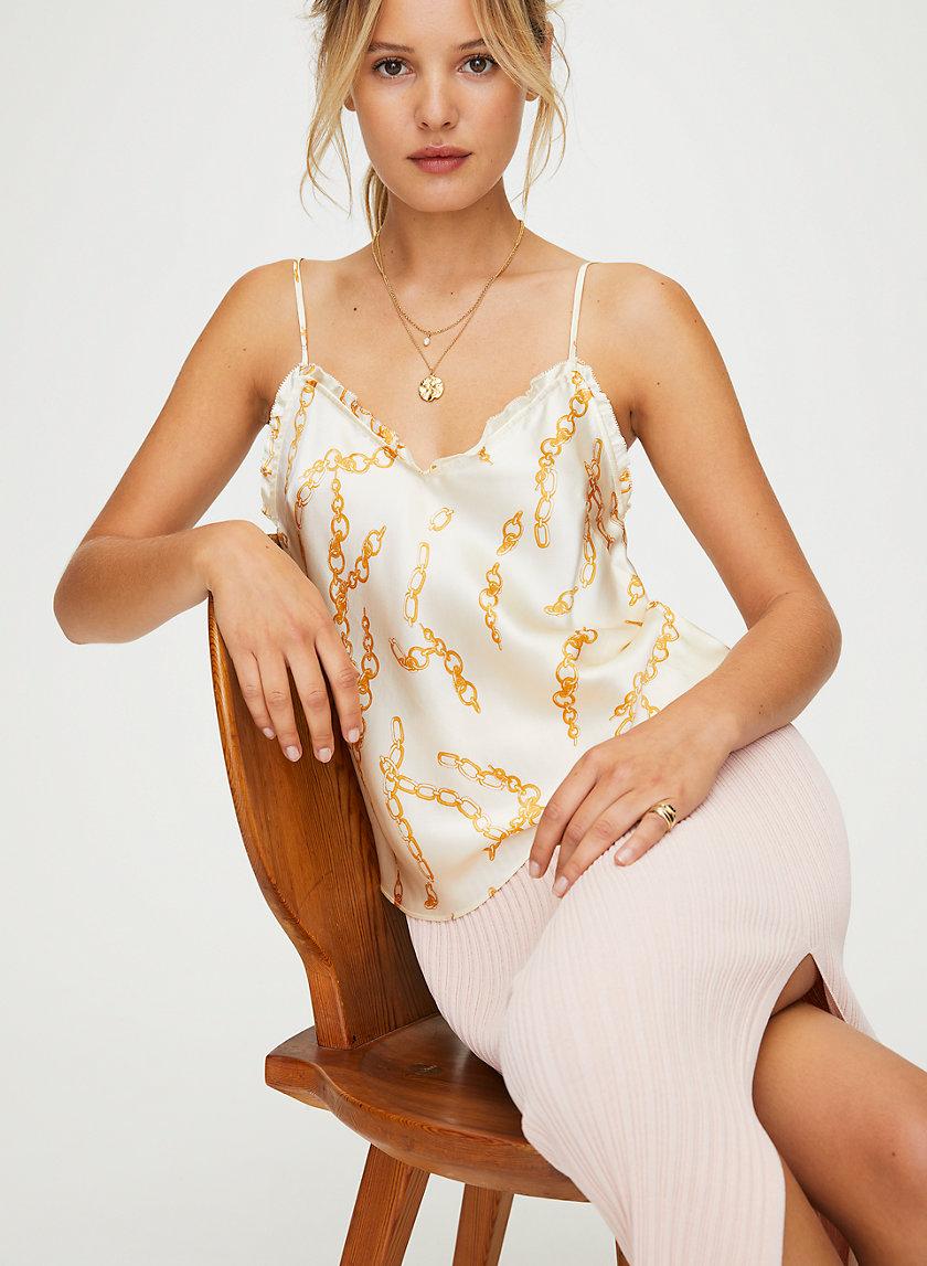 RUFFLE CAMISOLE - Chain-print silk camisole