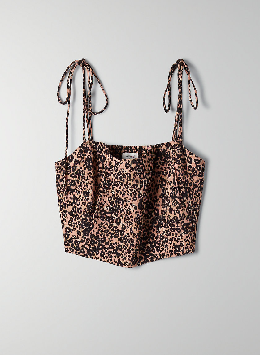 PENELOPE CAMISOLE - Cropped leopard-print tank top