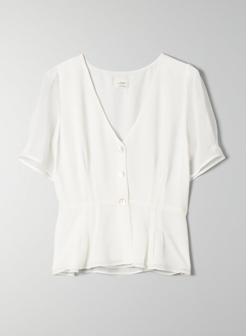 NEW BUTTON-FRONT BLOUSE - Short-sleeve chiffon blouse