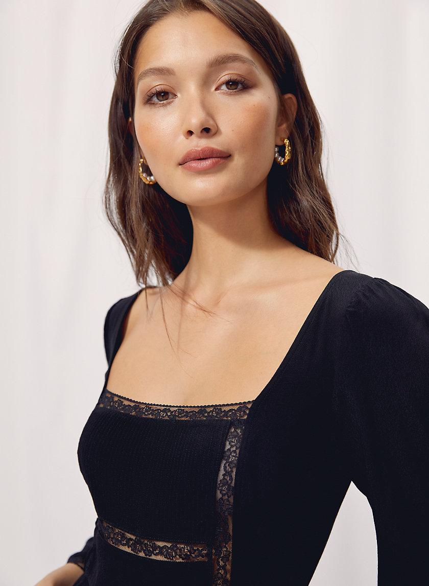 TROUBADOUR BLOUSE - Puff-sleeve peasant blouse