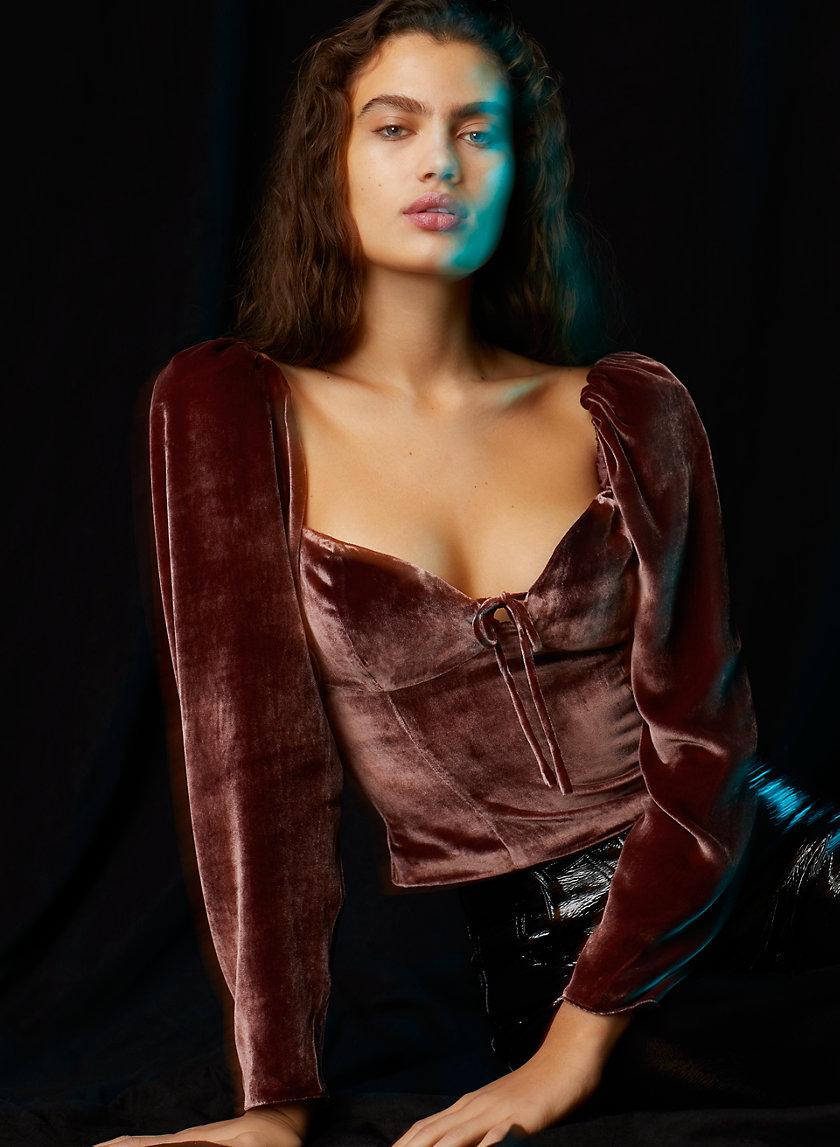 NOVELLA VELVET BLOUSE - Smocked velvet, puff-sleeve blouse