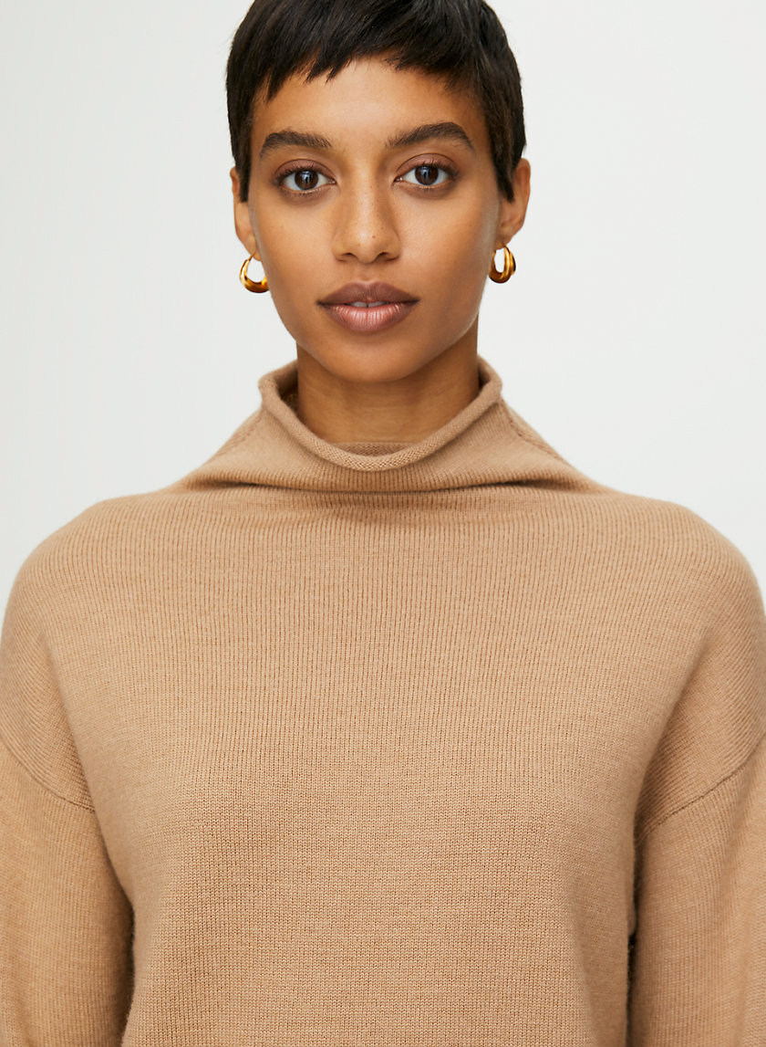 CYPRIE SWEATER - Merino-wool mock-neck sweater